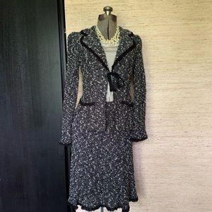 Nanette Lepore Suit Black/White Nubby Boucle - M